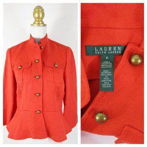 Ralph Lauren Orange Linen Peplum Blazer Jacket 6